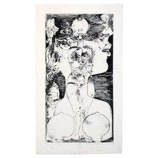 "Michael Economos: Flirtation, 1967. Monochrome Etching, 13"" x 7"""