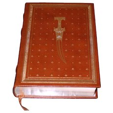 Leon Uris: The Haj. 1984 Signed True 1st Edition in Leather & Gilt by Franklin Library