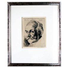 Hermann Kätelhön: Portrait at 65 (Ernst Moses Marcus). 1920, Engraving, Signed in Pencil
