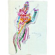 Chemiakine, Mikhail: Theatrical Costume Drawing. 1983. Signed & Dated