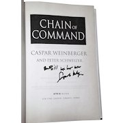 Caspar Weinberger: Chain of Command. Novel. 2005 Signed 1st Edition