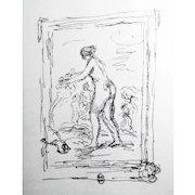 Pierre-Auguste Renoir: Femme Au Cep De Vigne. Lithograph. Mourlot, 1951. Signed in the Plate, Lower Left
