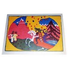 Wassily Kandinsky: Berge. 1913, Original Piper Woodcut