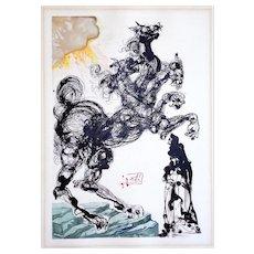 Salvador Dali: Dante Inferno, Canto 6, Cerberus. 1957-1965 Woodblock on Rives Paper