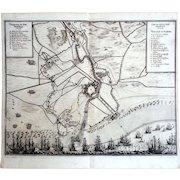 Siege of Gravelines 1644. Copper Engraving c.1650s by Baron Conrad Mardefelt