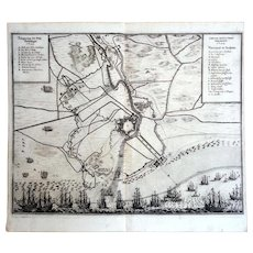 Siege of Gravelines 1644. Copper Engraving c.1650s by Baron Conrad Mardefelt