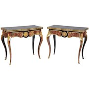 Pair of Ornate 19th C. Card Tables after Boulle