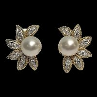 Vintage Signed Van Cleef and Arpels NY VCA 18k and Platinum South Sea Pearl & Diamond Earrings