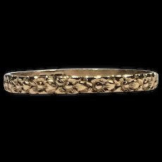 10k Yellow Gold Antique Victorian Infant Baby Engraved Floral Design Band Ring