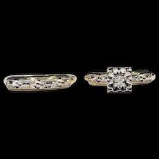 14k WG & YG Vintage Illusion Setting Diamond Cut Diamond Bridal Set Size 5 1/2