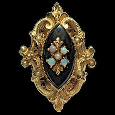Victorian Etruscan Opal, Black Onyx & Seed Pearl 14k YG Ring Size 10