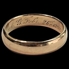 """RARE Antique Victorian 14k Yellow Gold Wedding Band Ring Engraved """"February 26 1880"""""""