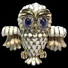RARE Vintage Large 18k YG White Opal Enamel Sapphire and Diamond Owl Pin Brooch