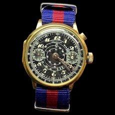 Very Rare Vintage 18k Solid YG Chronograph Lowenthal Black Dial Mens Pilot Watch