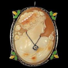 14k WG Antique Victorian/ Edwardian Enamel & Diamond Cameo Pin Brooch Pendant