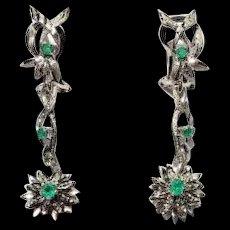 Vintage 18k White Gold Green Emerald Diamond Cut Florentine Finish Flower Drop Earrings