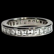 Tiffany & Co Platinum 2ctw Channel Step Cut Diamond Eternity Band Ring Size 6.5