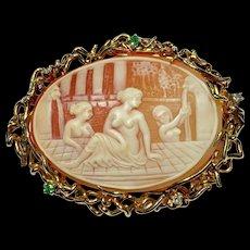 Solid 18k Yellow Gold Rare Vintage Bath House Emerald & Diamond Cameo Brooch Pin Pendant