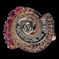 Antique Vintage Art Deco Retro 14k Rose Gold & Plat Ruby & Diamond Ring Size 6.5