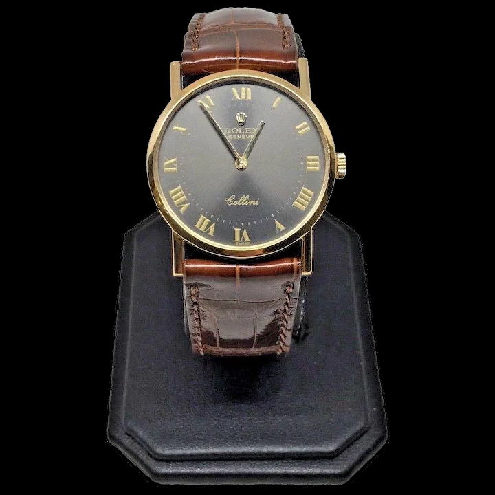 Vintage Ladies 18k Yellow Gold Rolex Cellini Classic 19 Jewels Slate Dial  Watch