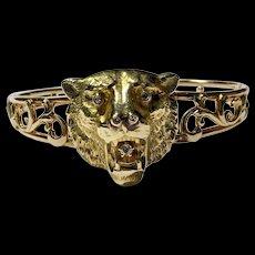 Antique 14k Green Gold & Rose Gold Diamond Bear Head Scroll Bangle Bracelet