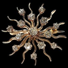 Antique 10k RG Edwardian/Victorian Old European Cut Diamond Starburst Brooch Pin Pendant
