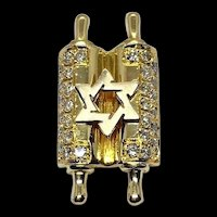 18k Yellow Gold & Diamond Torah Star of David Jewish Star Scroll Charm Pendant