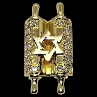 18k Yellow Gold & Diamond Torah Star of David Jewish Star Scroll Charm Pendant