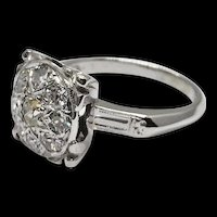 1930's Art Deco Large Square Top Round Old Diamond Cluster 14k WG Milgrain Engagement Ring