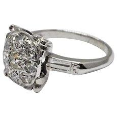 1930's Art Deco Large Square Top Round Old Diamond Cluster 14k WG Milgrain Engagement Ring