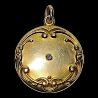 Antique Art Nouveau 14k Yellow Gold Old Diamond Monogrammed Locket Pendant Charm