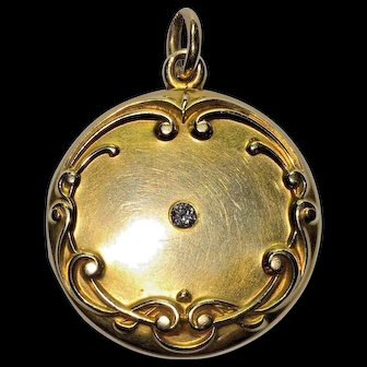 Antique Art Nouveau 14k Yellow Gold Old Diamond Monogrammed Locket Pendant Charm