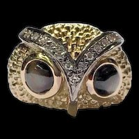 Vintage 14k Yellow Gold Black Star Sapphire Eyes Diamond Owl Head Ring Size 7.5