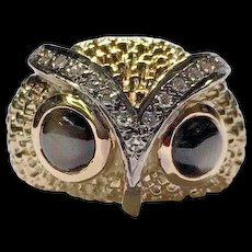 Vintage 14k Yellow Gold Black Star Sapphire Eyes Diamond Owl Head Ring Size 7.5