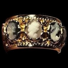 Victorian Vintage Multi Color Cameo 14k Yellow Gold Eternity Band Ring Size 8.5