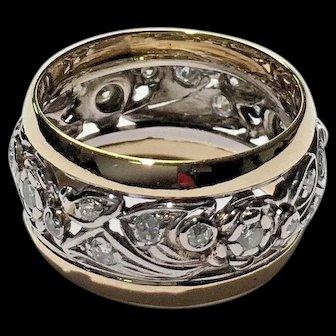 Vintage Art Deco 11mm wide 14k White & Yellow Gold 0.50 ctw Swirl Diamond Wedding Band Ring