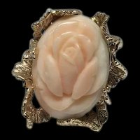 Estate Carved Rose Angel Skin Coral Flower 14k Yellow Gold Framed Ring Size 4.25