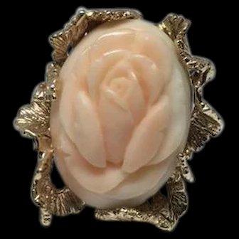 Estate Carved Rose Angel Skin Coral Flower 14k Yellow Gold Framed Ring Size 4.25