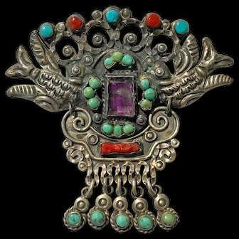 Signed Talleres De Los Ballesteros 925 Silver Turquoise Coral Amethyst Dove Brooch