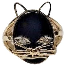 Vintage Black Oval Onyx Cat Split Shank 14k YG Diamond Eyes Kitty Ring Size 4.25
