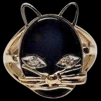 Vintage Black Oval Onyx Cat Split Shank 14k YG Diamond Eyes Kitty Ring Size 4.25