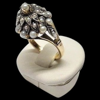 Estate 10k Yellow Gold Tiered Split Shank Cluster Seed Pearl High Dome Ring Size 5