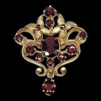 Estate 14k Yellow Gold Open Filigree Florentine Floral Finish Garnet Pendant Brooch Pin