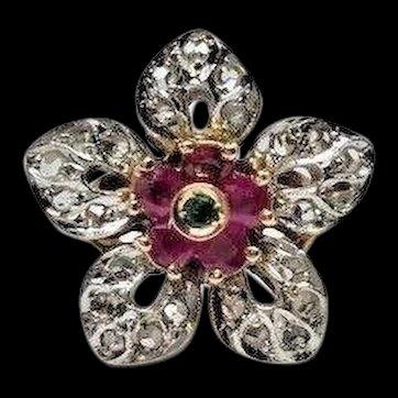 Estate 14k Pink Gold Rose Cut Diamond Red Ruby & Green Emerald Large Flower Ring
