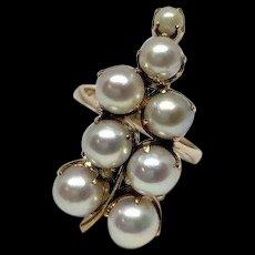 Estate 18k Rose Gold Akoya Pearl Cluster Hanging Grapes Grapevine Ring Size 6.5