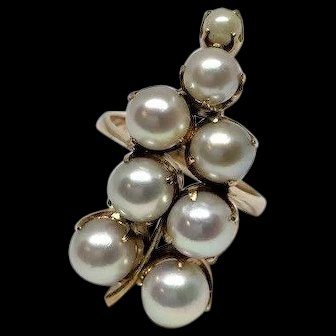 Estate 18k Rose Gold Akoya Pearl Cluster Hanging Grapes Grapevine Ring Size 6.5