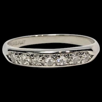 Vintage Platinum 7 Single Cut Pave Set Round Diamond Wedding Band Size 6 0.33ctw