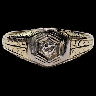 Estate Art Deco 0.15ctw European Cut Diamond Men's Engraved Signet Style Ring