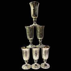 Estate Russian Silver Shot Glass Set of Etched Floral Pattern w/ Gold Gilt Interior