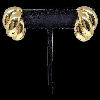 Estate Signed Henry Dankner 18k YG Solid Rope Twist Shell Omega Back Earrings